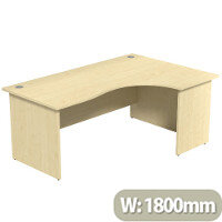 Radial Office Desk Panelled Right Hand W1800xD1200xH725mm Maple Ashford