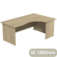 Radial Office Desk Panelled Right Hand W1800xD1200xH725mm Urban Oak Ashford