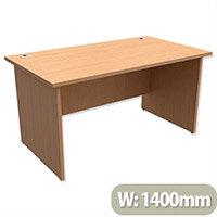 Panel End Desk Rectangular W1400xD800xH725mm Beech Ashford