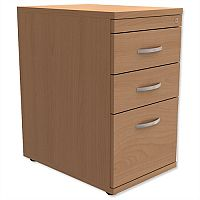 Filing Pedestal Desk-High 3-Drawer 600mm Deep Beech Kito
