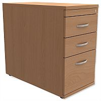 Filing Pedestal Desk-High 3-Drawer 800mm Deep Beech Kito