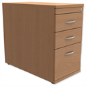 Filing Pedestal Desk-High 3-Drawer 800mm Deep Beech Trexus