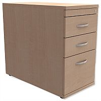 Filing Pedestal Desk-High 3-Drawer 800mm Deep Maple Kito