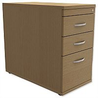 Filing Pedestal Desk-High 3-Drawer 800mm Deep Urban Oak Kito