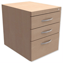 Fixed Pedestal for Cantilever Desk 3-Drawer Maple Kito