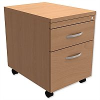 Mobile Filing Pedestal 2-Drawer Beech Kito
