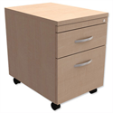 Mobile Filing Pedestal 2-Drawer Maple Kito