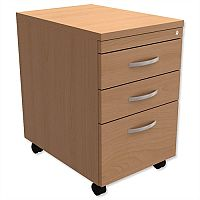 Filing Pedestal Mobile Tall Under-Desk 3-Drawer Beech Kito