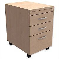 Filing Pedestal Mobile Tall Under-Desk 3-Drawer Maple Kito