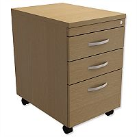 Filing Pedestal Mobile Tall Under-Desk 3-Drawer Urban Oak Kito