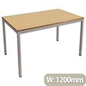 Trexus Rectangular Office Table with Silver Legs 18mm Top W1200xD750xH725mm Oak
