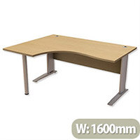 Cantilever Radial Office Desk Left Hand W1600xD1200xH725mm Urban Oak Komo