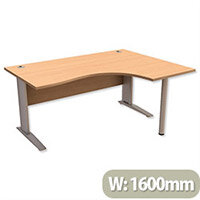 Cantilever Radial Office Desk Right Hand W1600xD1200xH725mm Beech Komo