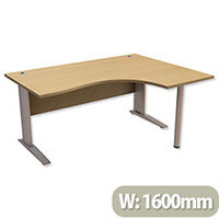 Cantilever Radial Office Desk Right Hand W1600xD1200xH725mm Urban Oak Komo