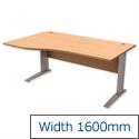 Komo Cantilever Wave Office Desk Left Hand W1600xD1000-800xH725mm Beech