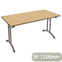 Folding Table Rectangular Chrome Legs 25mm Top W1500xD750xH725mm Urban Oak Morph Fold