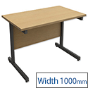 Rectangular Return Office Desk Graphite Legs Oak Trexus Contract