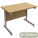 Rectangular Return Office Desk Silver Legs Oak Trexus Contract