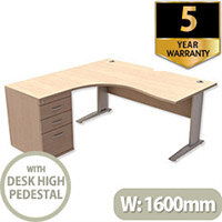 Radial Office Desk Left Hand with 600mm Desk-High Pedestal W1600xD1600xH725mm Maple Komo