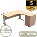 Radial Office Desk Right Hand with 600mm Desk-High Pedestal W1600xD1600xH725mm Maple Komo