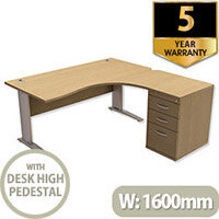 Radial Office Desk Right Hand with 600mm Desk-High Pedestal W1600xD1600xH725mm Urban Oak Komo