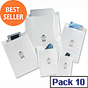 Jiffy No.4 White Postal Bags Bubble Lined 240x320mm Peel and Seal Pack 10