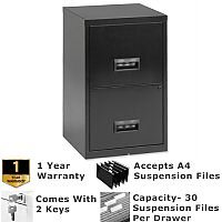 Pierre Henry A4 2 Drawer Steel Filing Cabinet Lockable Black