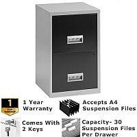 Pierre Henry A4 2 Drawer Steel Filing Cabinet Lockable Silver/Black