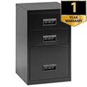 Black Filing Cabinet Lockable 3 Drawers A4 Height 670mm Pierre Henry