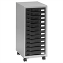 Storage Cabinet Steel 12 Drawers Silver/Black Height 660mm Pierre Henry