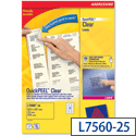 Avery L7560-25 Clear Address Labels Laser 21 per Sheet 63.5x38.1 525 Labels