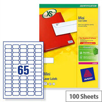 Avery L7651-100 Mini Labels Laser 65 per Sheet 38.1x21.2mm White 6500 Labels