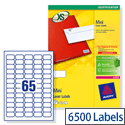 Avery L7651-100 Mini Labels Laser 65 per Sheet 38.1x21.2mm White 6500 Labels