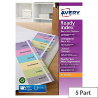 Avery 1-5 Dividers Coloured Tabs Ready Index 01733501