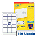 Avery QuickDRY Inkjet Address Labels 21 per Sheet 63.5x38.1mm White Ref J8160-100 [2100 Labels]