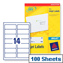 Avery J8163-100 Address Labels Inkjet 14 per Sheet 99.1 x 38.1mm White 1400 Labels