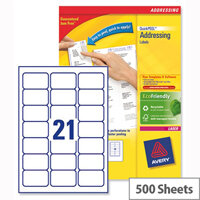 Avery L7160-500 Laser Address Labels 63.5x38.1mm White (10.500 Labels)