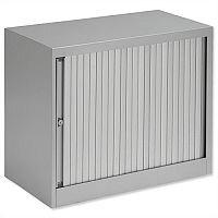 Bisley Desk High Tambour Door Cupboard W800mm Silver Frame & Silver Shutters