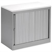 Bisley Silver Desk High Tambour Cupboard Silver Shutters White Top Height 720mm