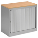 Bisley Silver Desk High Cupboard With Tambour Silver Shutters Beech Top Height 720mm