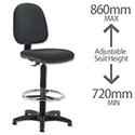 Draughtsman Chair Black High Rise Medium Back Trexus