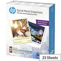 HP Social Media Snapshots Photo Paper 25 Sheets