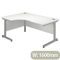 Office Desk Radial Left Hand Silver Legs W1600xD1200xH725mm White Ashford