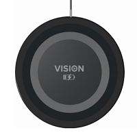 VISION Qi Wireless Charger - 8mm Thick Design - Fast Charging Mode 10 Watts (max) - 1m USB Cable - Diameter 60mm