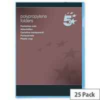 Cut Flush Folder A4 Polyprophlene Translucent Blue Pack 25 5 Star
