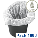 Bin Liners Office 381x610x610mm White Pack 1000 5 Star