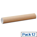 Postal Tube Cardboard with Plastic End Caps A1 L720x Dia.102mm PT102150720 Pack 12