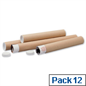 Postal Tube Cardboard with Plastic End Caps A0 L1140xDia.102mm PT102151140 Pack 12