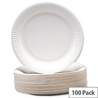 Disposable White Paper Plates 7inch (Pack 100) Recyclable 0511040