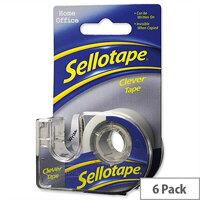 Sellotape Clever Tape Dispenser Roll Matt 18mmx15m Pack 6